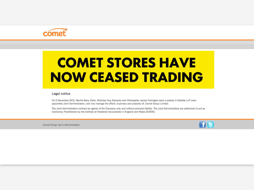 Comet has ceased trading