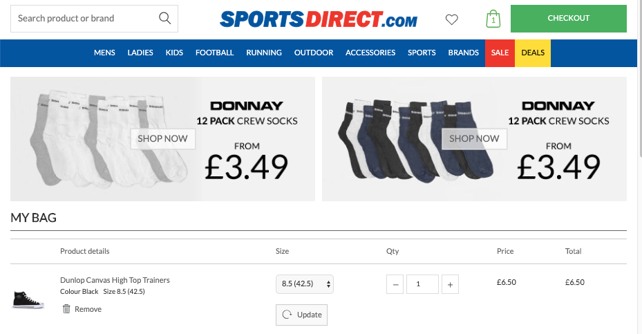 sports direct showing socks to buy alongside shoes