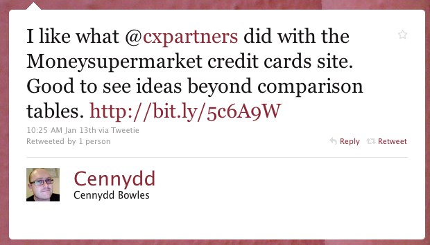 I like what @cxpartners did with the Moneysupermarket credit cards site. Good to see ideas beyond comparison tables