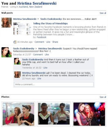 Example of Facebook friendship page