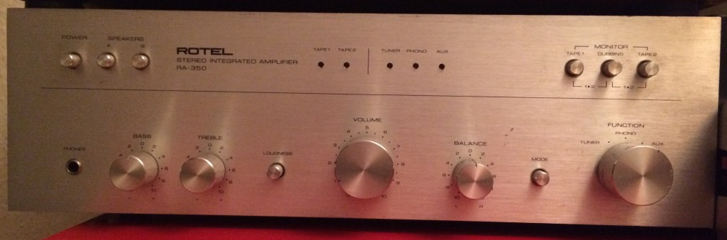 Front of the Rotel amp where you can see the phono option on the selector knob
