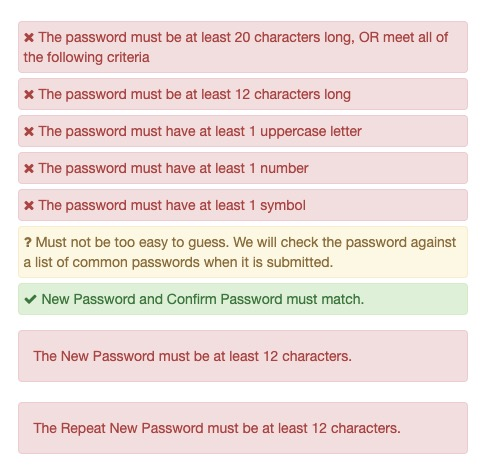complex password options